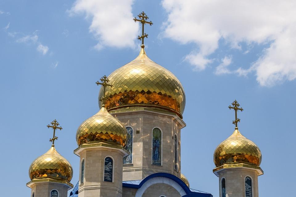 Russian Church, Dome, Golden, Architecture, Religion