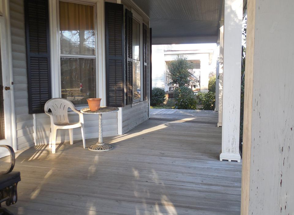Southern, Porch, House, Architecture, Building, Home