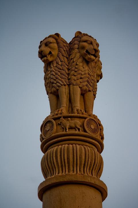 Lions, Statue, Column, India, Emblem, Architecture