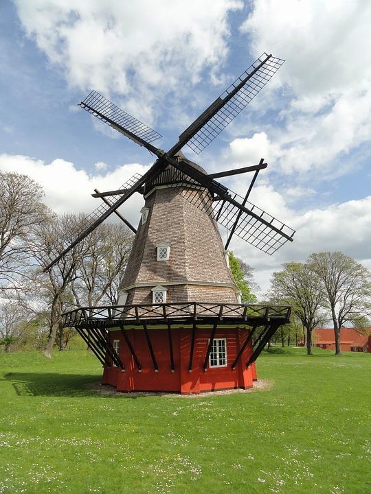 Copenhagen, Denmark, Landscape, Windmill, Architecture