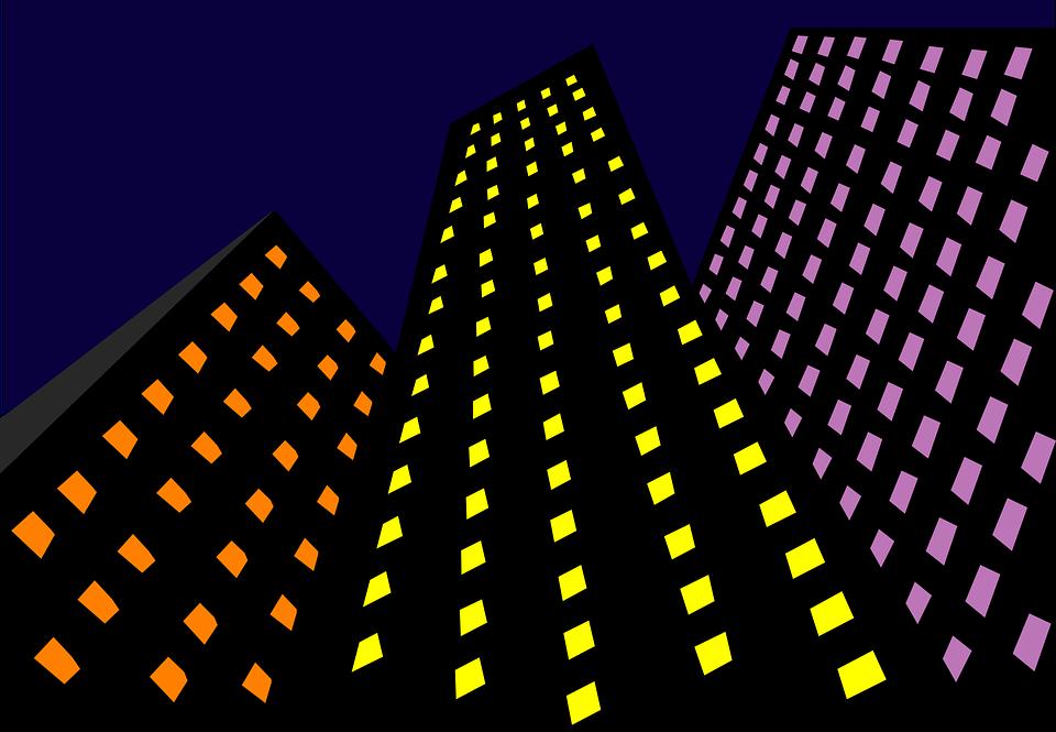 Skyscrapers, Light, Night, Architecture, Yellow, Purple