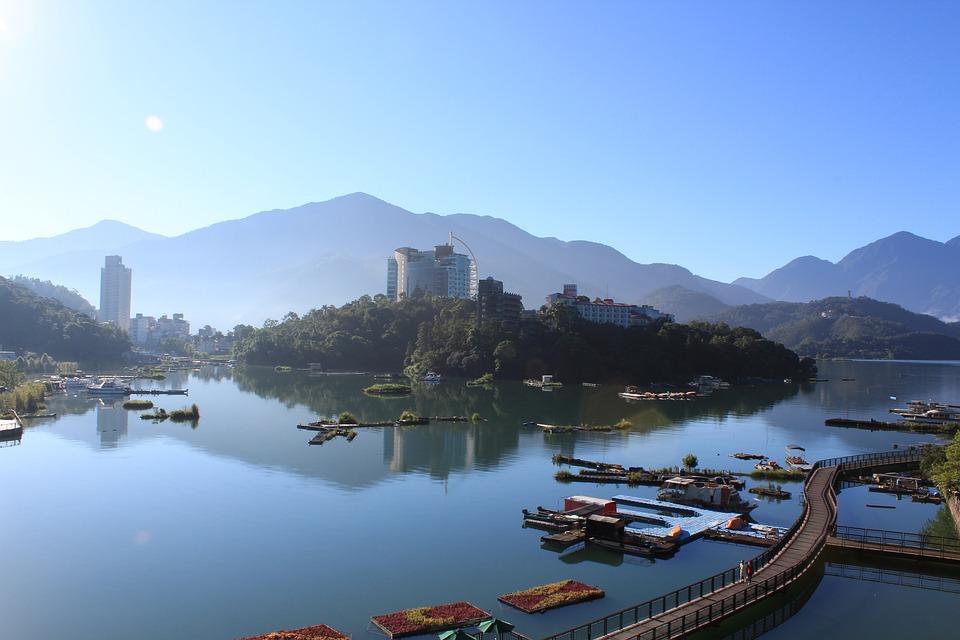 Morning, Ri Yue Tan, Lake, Town, Architecture, Skyline