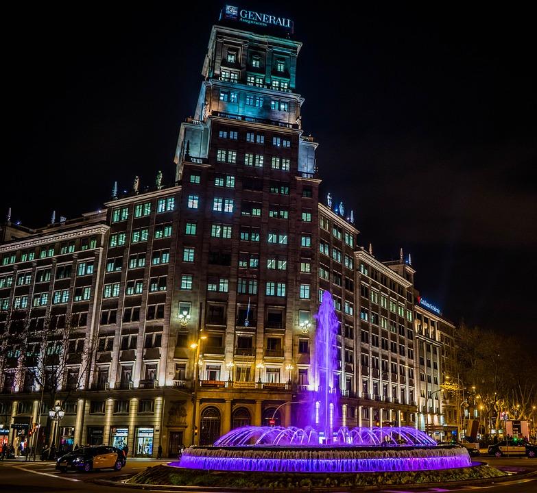 Barcelona, Fountain, Night, Blue, Architecture, Spain