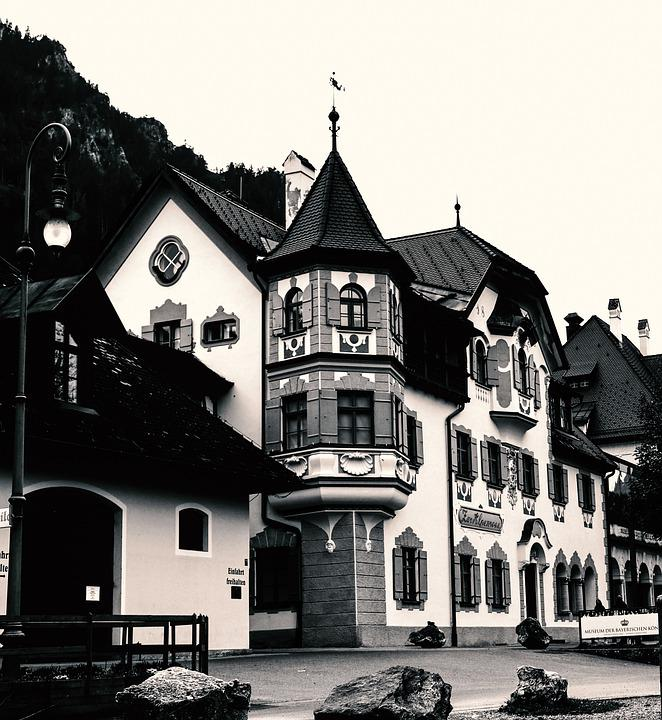 House, Building, Black, White, Architecture, Old
