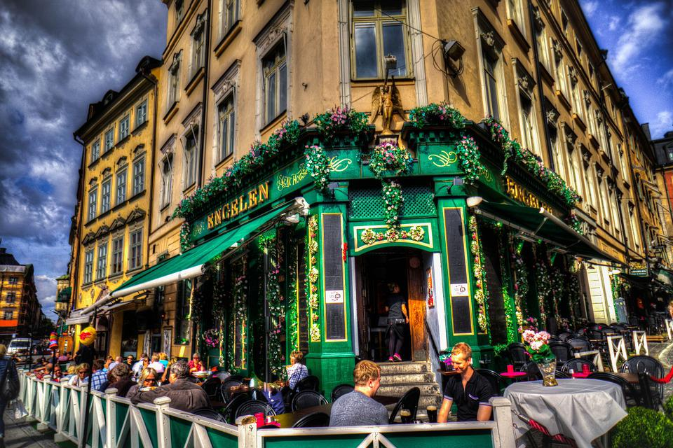 Stockholm, Sweden, Restaurant, City, Architecture, Old