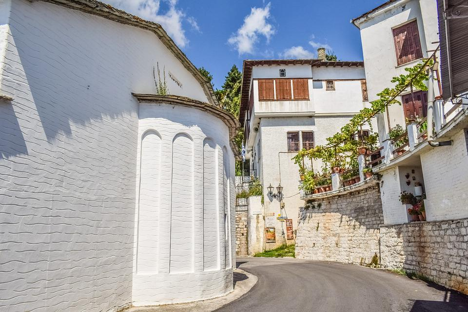 Greece, Pelio, Milies, Village, Street, Architecture