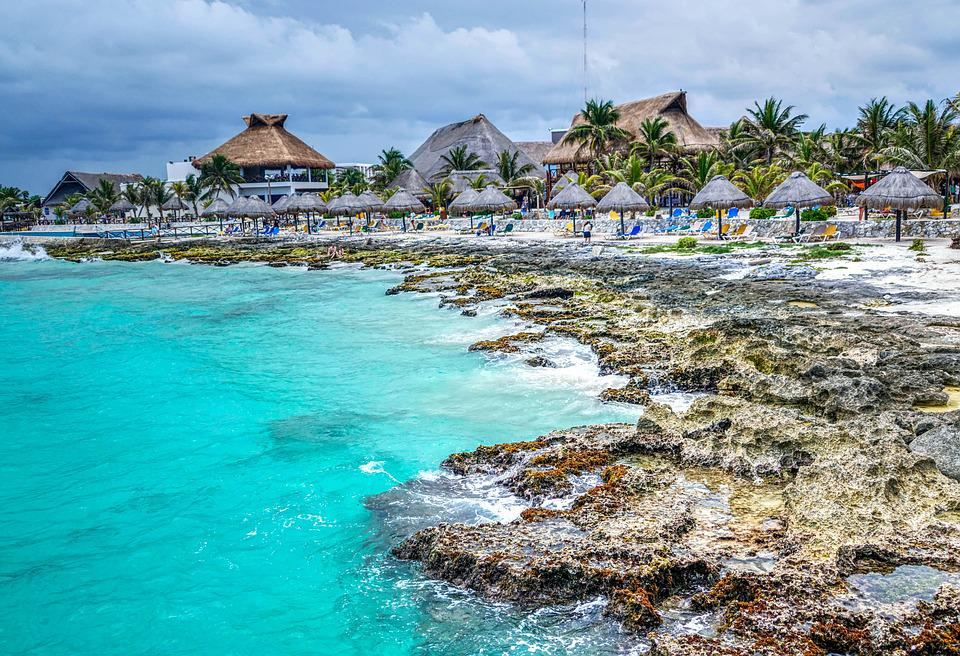 Costa Maya, Mexico, Beach, Architecture, Huts, People