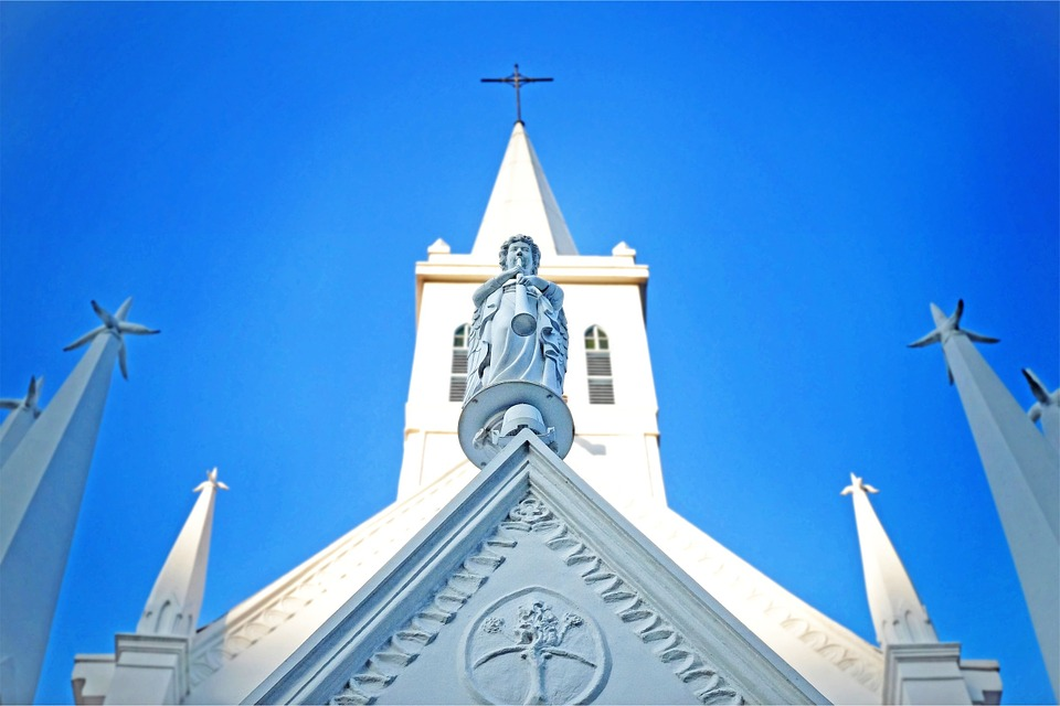 Church, Religion, Cross, Blue, Sky, Architecture
