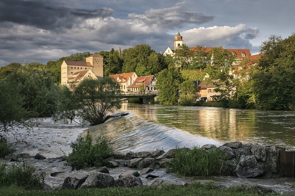 River, City, Germany, Baden-württemberg, Architecture