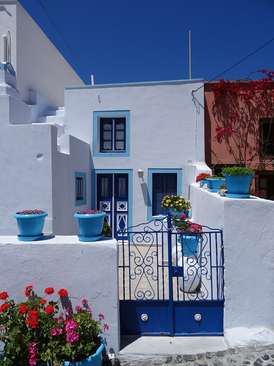 Santorini, Greece, Home, Architecture, Road, City, Door