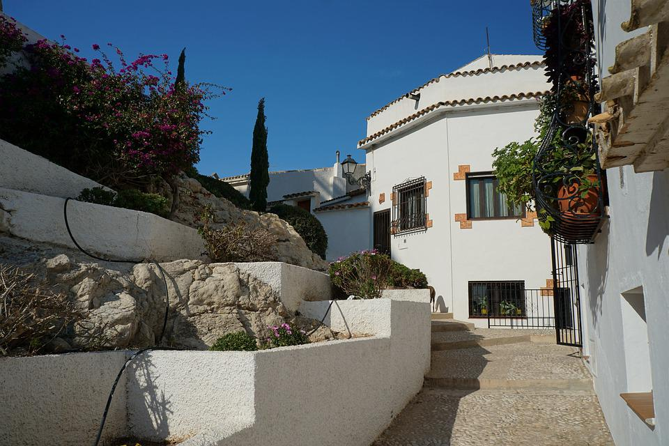 Altea, Spain, Road, Houses, Architecture, Downtown