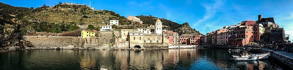 Panoramic, Architecture, Travel, City, Sea, Vernazza