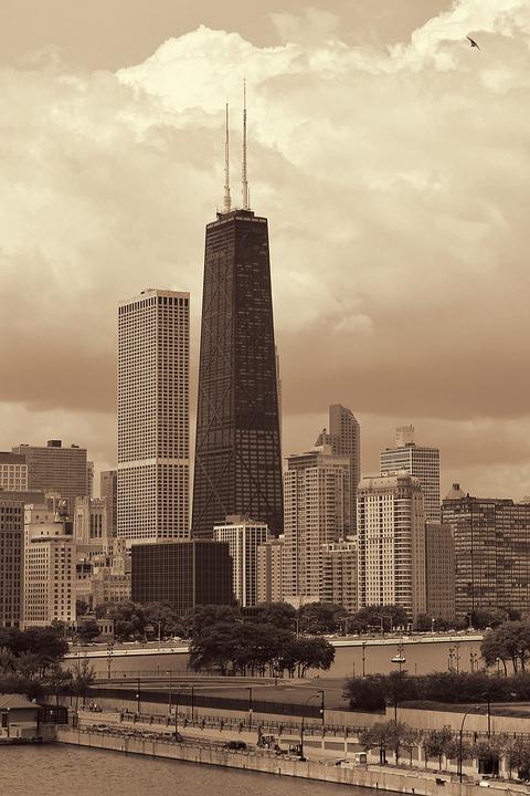 Sepia, Chicago, Skyline, Architecture, City, Skyscraper
