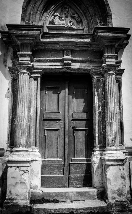 Door, Black, White, Old, Architecture, House, Shadow