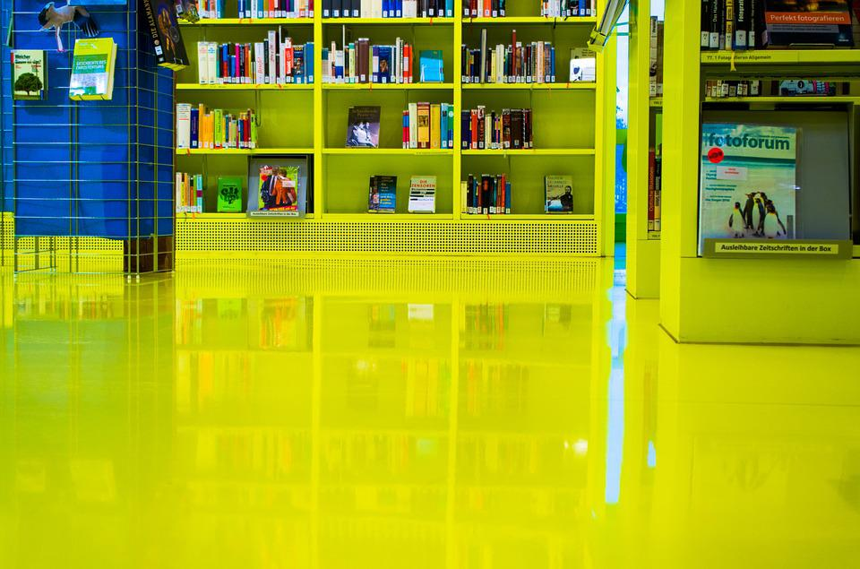 Mirroring, Library, Books, Shelves, Architecture