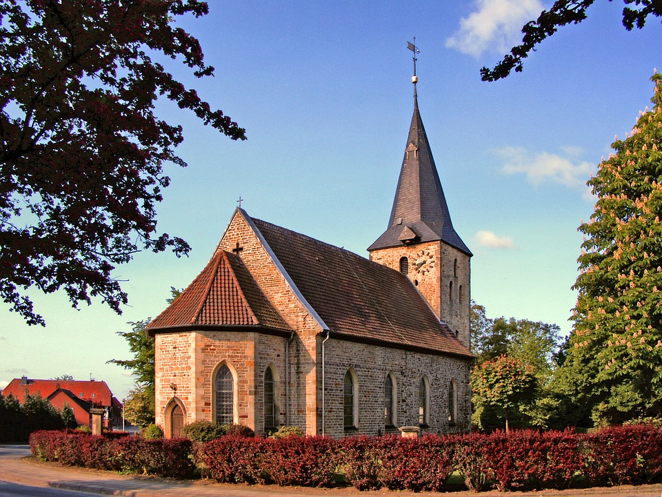 Velpke, Germany, Church, Building, Architecture, Sky