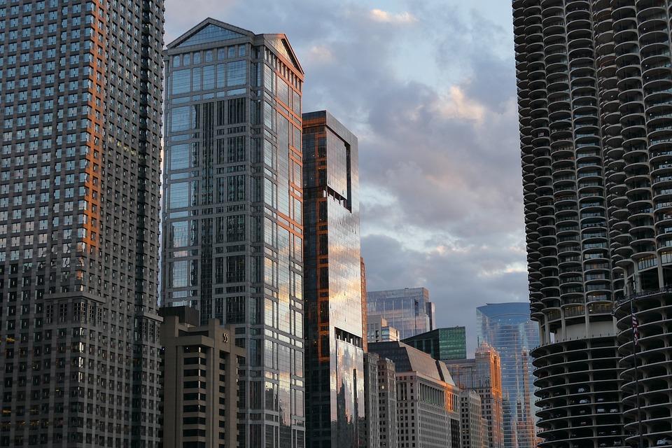 Chicago, Skyscrapers, Evening, Architecture