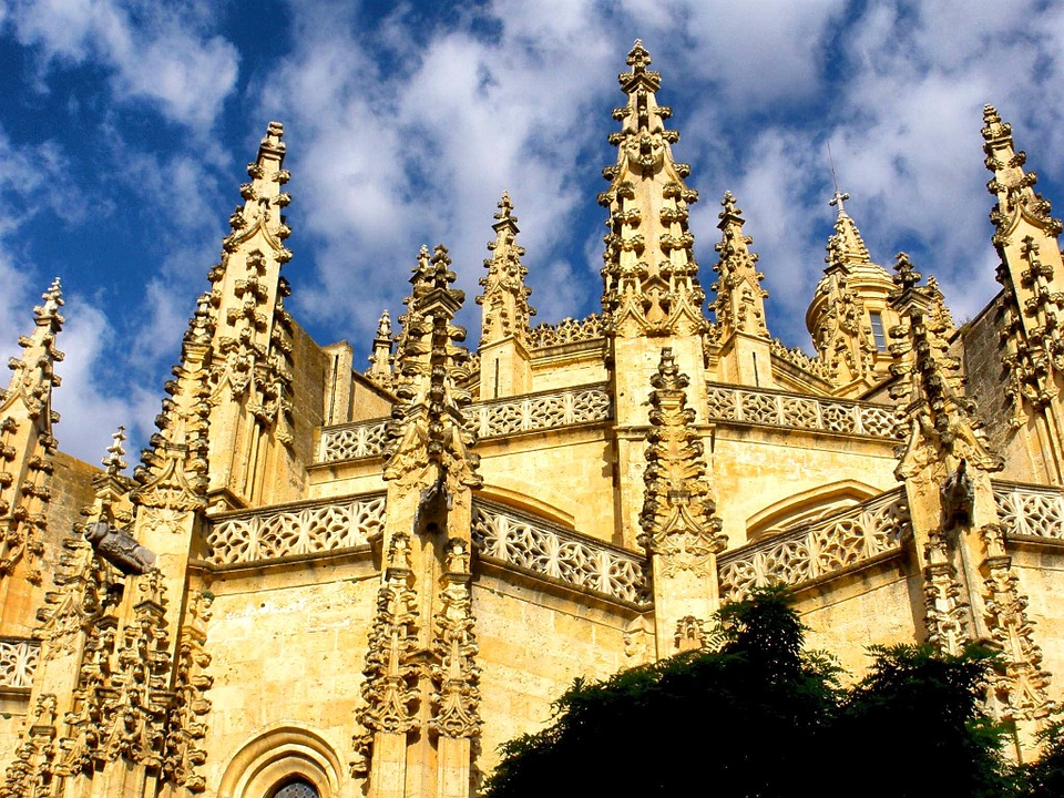 Segovia, Spain, Cathedral, Church, Architecture, Sky