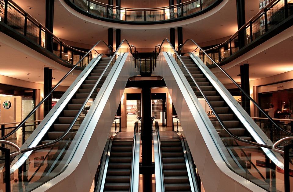 Escalator, Stairs, Metal Segments, Architecture
