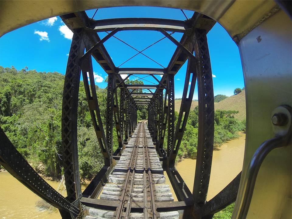Bridge, Architecture, Tracks, Steel, Wood, River, Trees