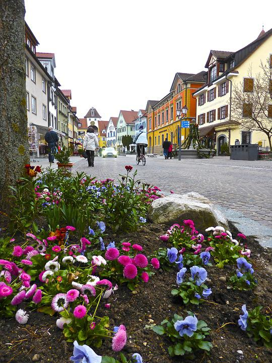 Flowers, Streetscape, View, Architecture, Buildings