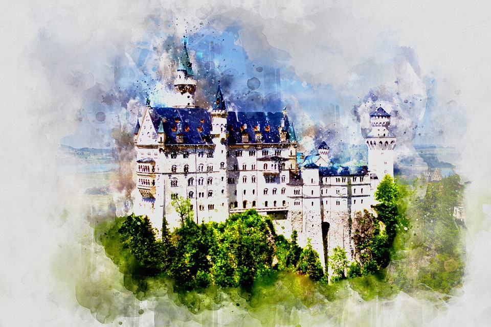 Watercolor, Tower, Green, Landmark, Architecture