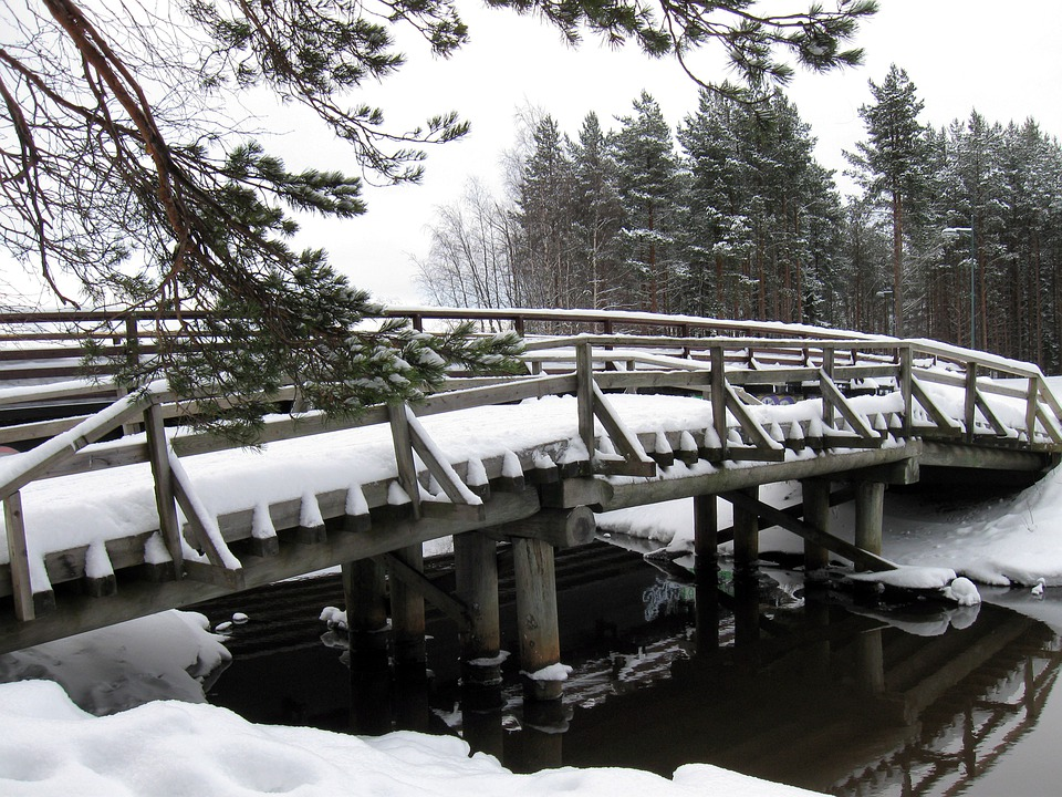 Finland, Bridge, Stream, River, Water, Architecture