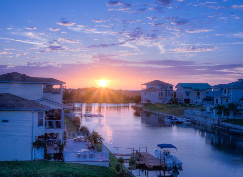 Sunset, Canal, Florida, Architecture, Water, Vacation