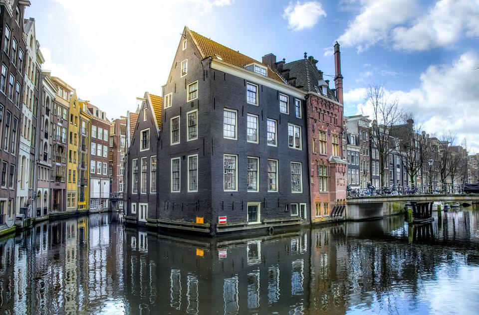 Reflection, Architecture, Water, Canal, City, Amsterdam