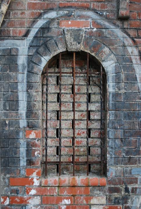 Window, Grid, Bricks, Wall, Architecture