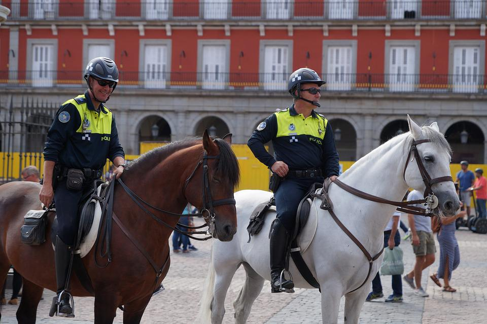 Mounted Police, Policeman, Horse, Madrid, Area