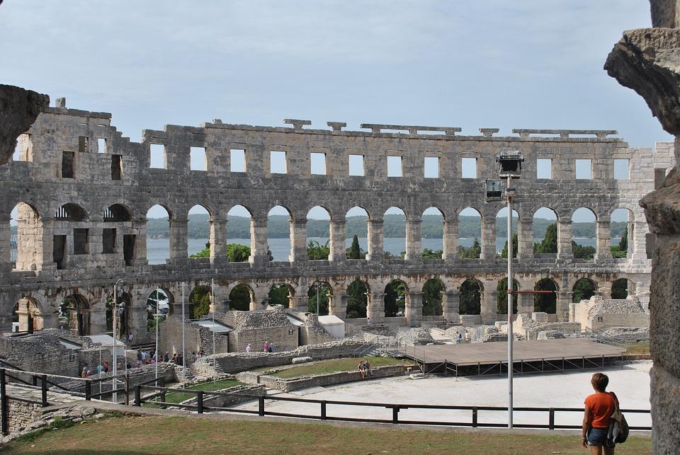 Amphitheater, Pula, Croatia, Arena, Roman, Gladiators