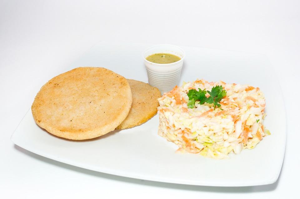 Arepa, Salad, Dish, Sauce, Gastronomy, Venezuelan Food