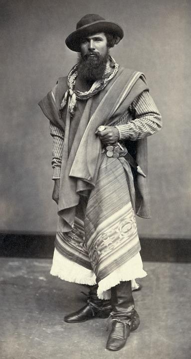 Gaucho, Indio, Argentine, Man, Black And White, 1868