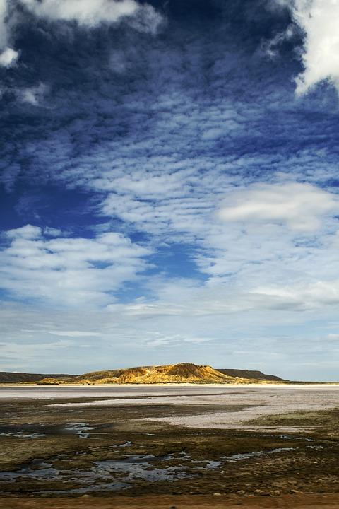 Desert, Blue, Sky, Background, Hills, Sun, Arid, Clouds
