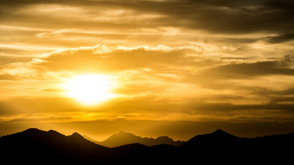 Sun, Sunset, Clouds, Mountains, West, Arizona