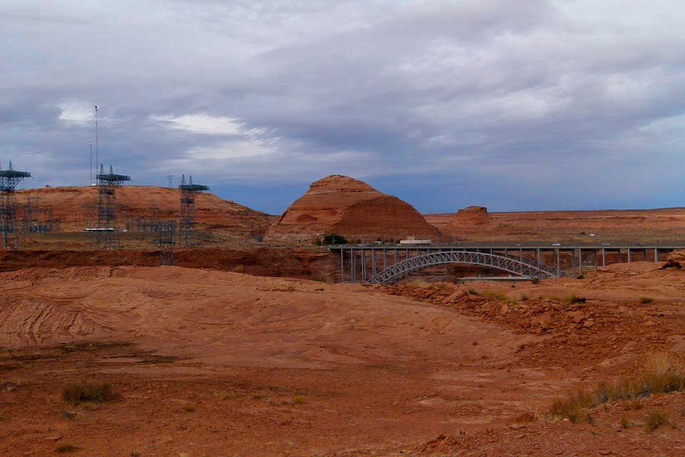 Glen Canyon, Power Poles, Power Plant, Arizona, Usa
