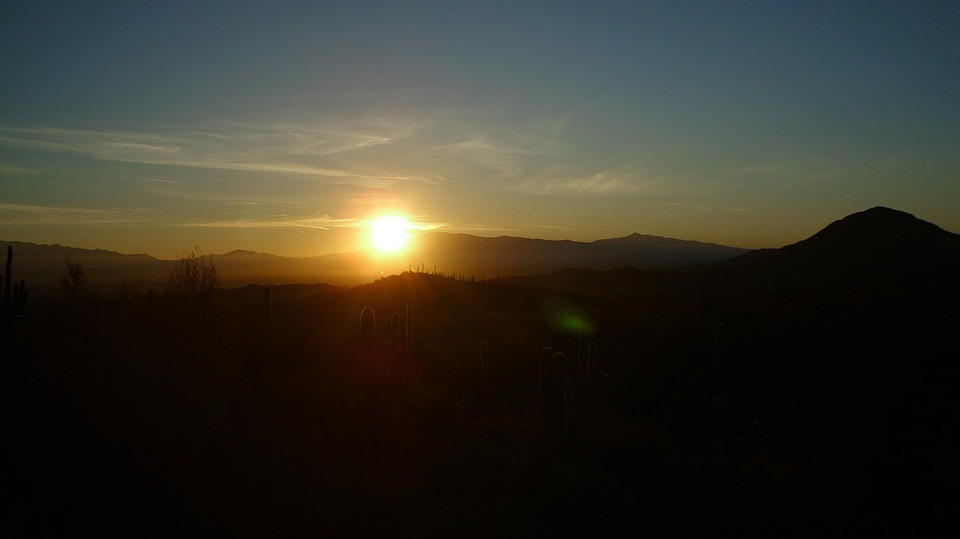 Sunrise, Mountains, Tucson, Arizona, Landscape
