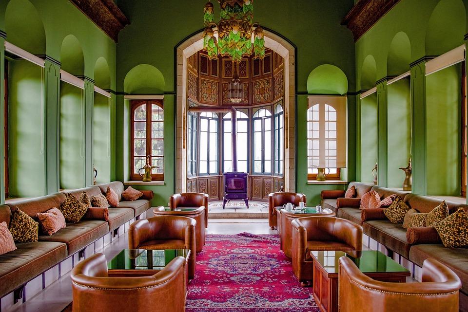 Room, Oriental, Palace, Sofa, Bench, Armchair, Stove