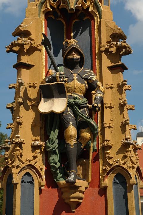 Fig, Knight, Armed, Fountain, Fountain City, Ulm