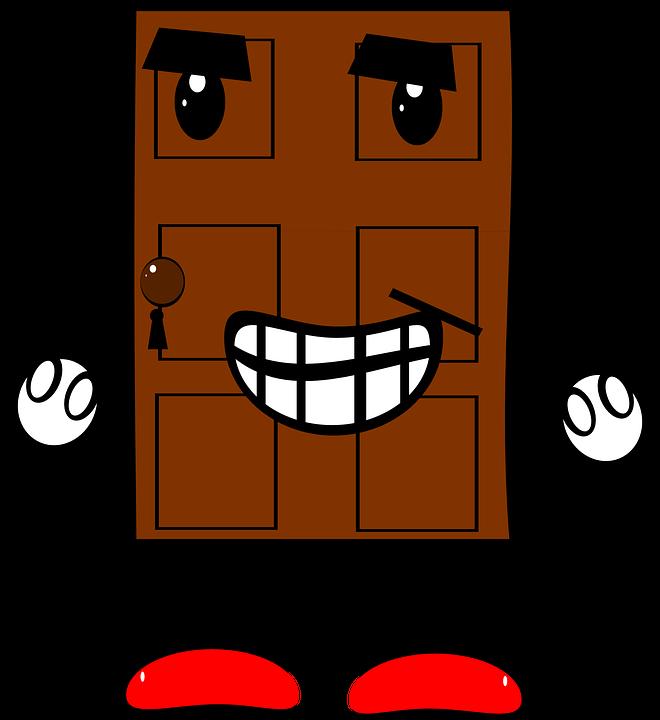 Door, Creature, Cartoon, Legs, Arms, Eyes, Mouth