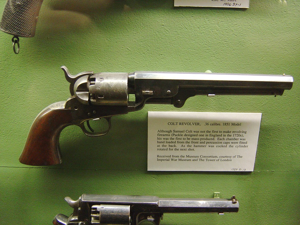 Revolver, Colt, Pistol, Gun, Old, Arms, Antique, Museum