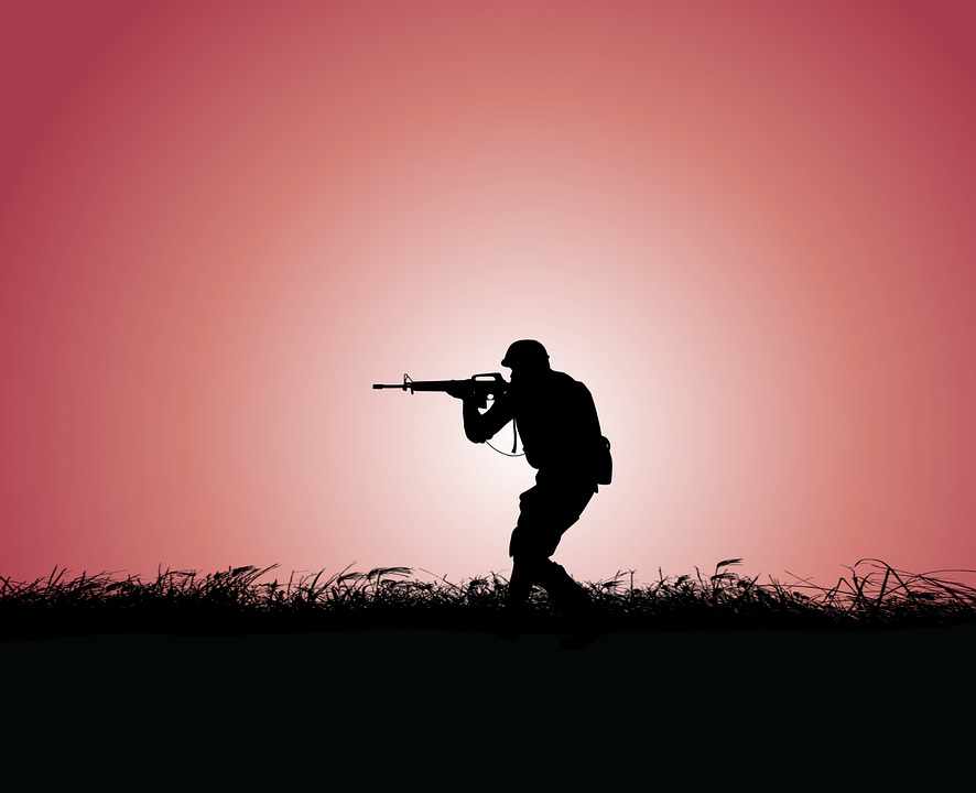 Soldier, Army, Gun, Sunset, Sky