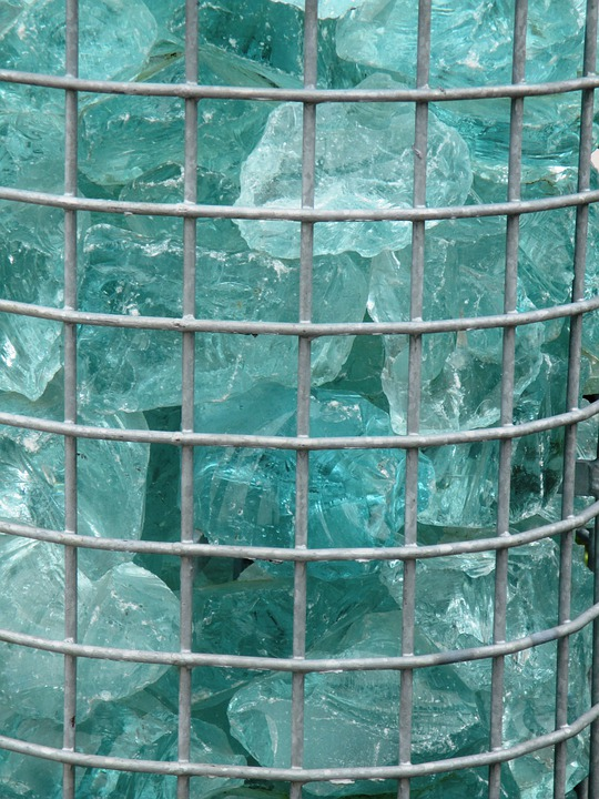 Grid, Around Grids, Metal, Glass Blocks, Turquoise