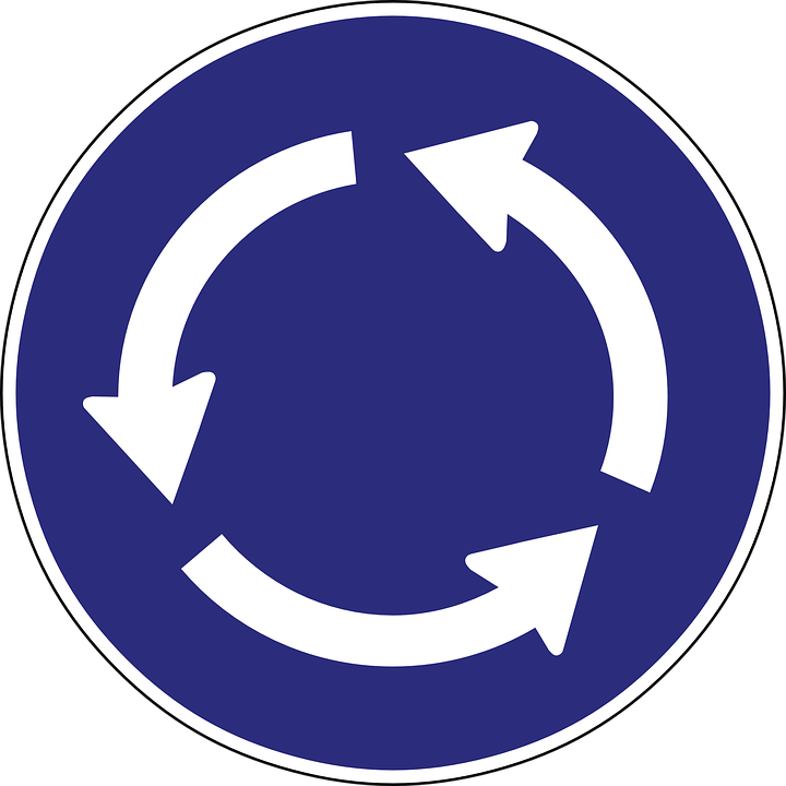 Roundabout, Arrow, Direction, Road Sign, Traffic