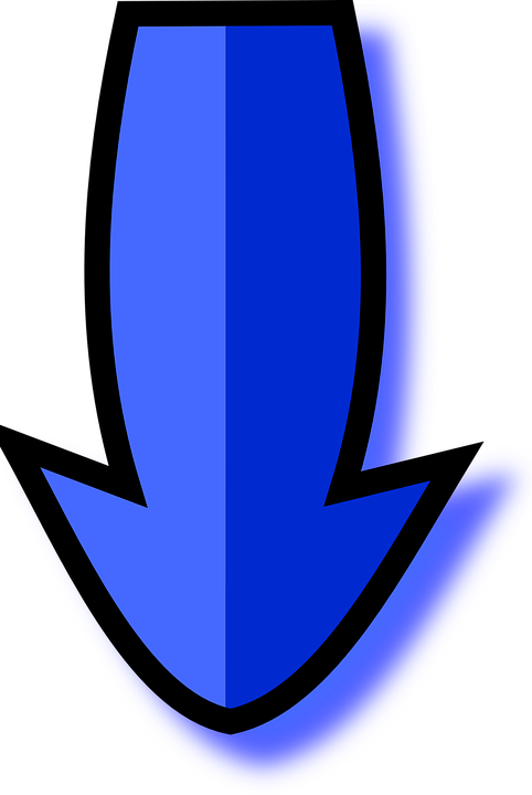 Arrow, Directions, Downwards, Pointer, Pointing, Blue