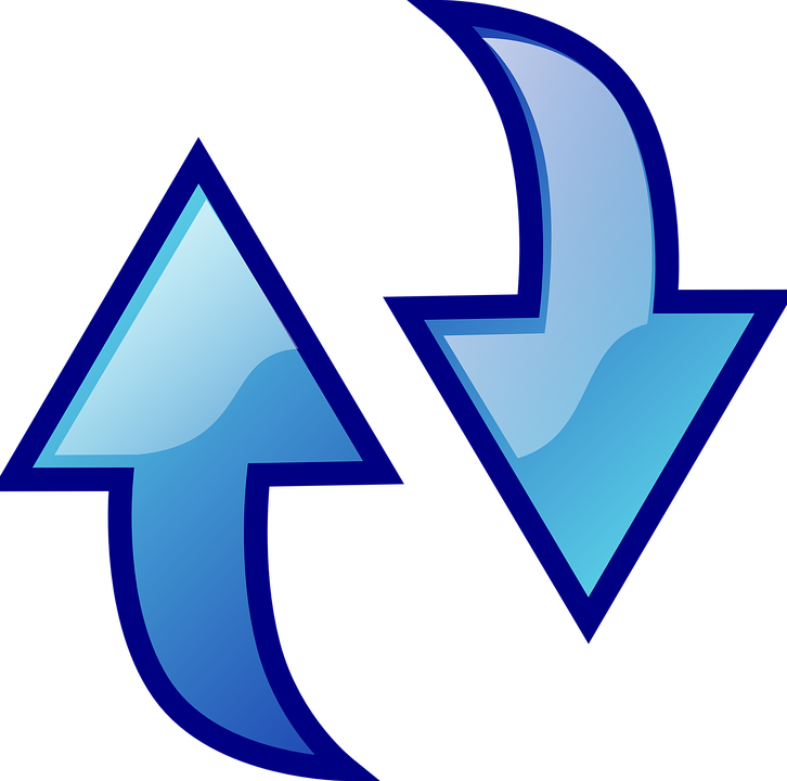 Arrow, Refresh, Down, Up, Blue