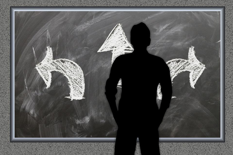 Board, Arrows, Decision, Right, Next, Straight, Man