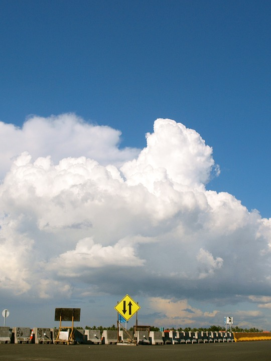 Clouds, Street, Sign, Arrows, Road, Sky, City