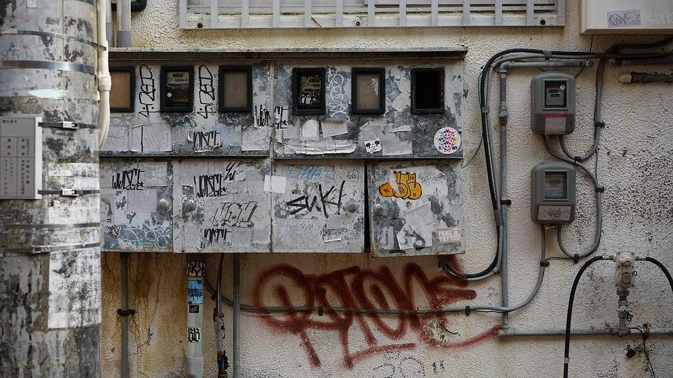 Graffiti, Skyline, Electric Cable, Art, Background